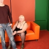 Horny man sticking his shaft into fat oldie's mouth & backside